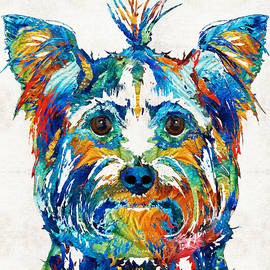 Sharon Cummings - Colorful Yorkie Dog Art - Yorkshire Terrier - By Sharon Cummings