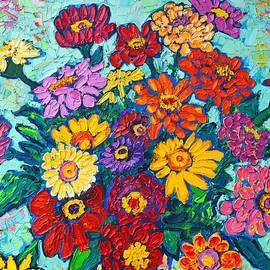 Ana Maria Edulescu - Colorful Zinnias Bouquet Closeup