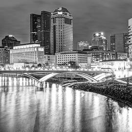 Gregory Ballos - Columbus Downtown Skyline at Night - Ohio - Black and White