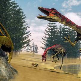 Elenarts - Elena Duvernay Digital Art - Compsognathus dinosaurs - 3D render