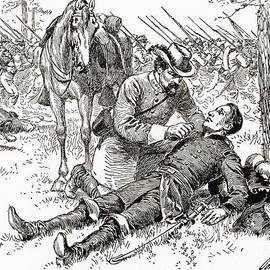 Confederate general John Brown Gordon assists wounded Union General Francis Channing Barlow - American School