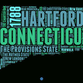 Connecticut Word Cloud Map 1 - Naxart Studio