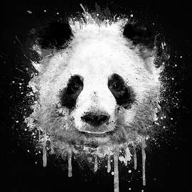 Philipp Rietz - Cool Abstract Graffiti Watercolor Panda Portrait in Black and White