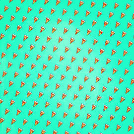 Philipp Rietz - Cool and Trendy Pizza Pattern in Super Acid green   turquoise   blue