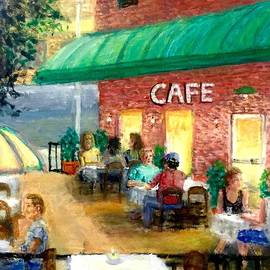 Larry Lamb - Courtyard Cafe Impression folk art