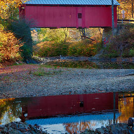 Jeff Folger - Covered bridge reflection in Vermont
