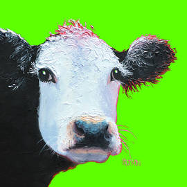 Jan Matson - Cow Art - Black and White on green