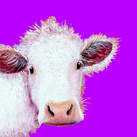 Jan Matson - Cow Art - Charolais on Purple