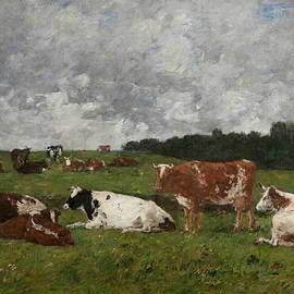 Cows at the pasture - Eugene Louis Boudin