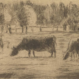 Cows in the Fields of Eragny, near Gisors - Camille Pissarro