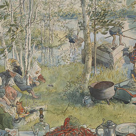 Crayfishing. From A Home - Carl Larsson