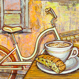 Mark Howard Jones - Cream Electra Town bicycle with cappuccino and biscotti