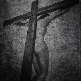 Ramon Martinez - Crucifix in dark painting
