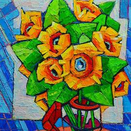 Ana Maria Edulescu - Cubist Sunflowers - Original Oil Painting