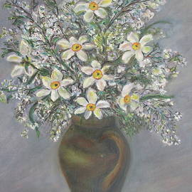 Katerina Iourashevich Ricci - Daffodils in a vase with flourishing branches in a brown jar