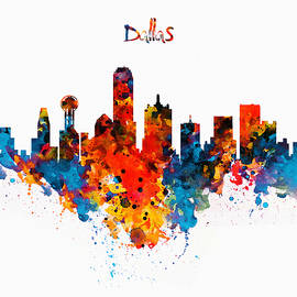 Marian Voicu - Dallas Watercolor Skyline