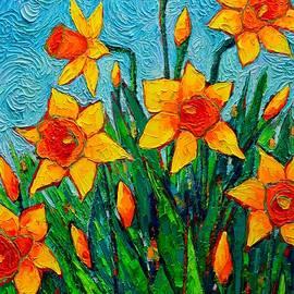Ana Maria Edulescu - Dancing Daffodils - Spring Flowers - Original Palette Knife Oil Painting By Ana Maria Edulescu