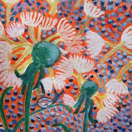 Carmela Maglasang - Dandelions Blown On A Mosaic Sky