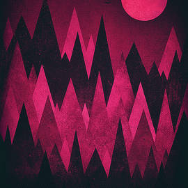 Philipp Rietz - Dark Triangles - Peak Woods Abstract Grunge Mountains Design in red black