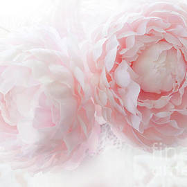 Dreamy Shabby Chic Baby Pink White Pastel Peonies - Romantic Baby Pink Peonies Decor - Kathy Fornal