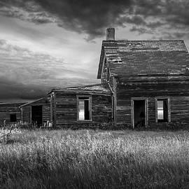 Randall Nyhof - Deserted Prairie Farm House in Black and White