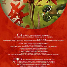 Claudia  Ellis - Desiderata Poem With Artwork 0f Nature Over Red Background