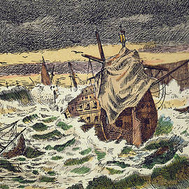 Destruction by storms of the Invincible Spanish Armada - Spanish School