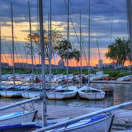 Joann Vitali - Docked Sailboats at Sunset - Boston