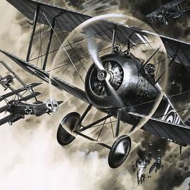 Dog Fight between British biplanes and a German triplane - Wilf Hardy