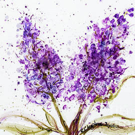 CheyAnne Sexton - Double Purple Lilac Blossoms watercolor
