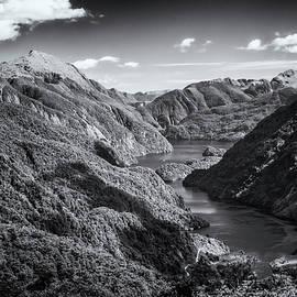 Joan Carroll - Doubtful Sound New Zealand from Wilmot Pass BW