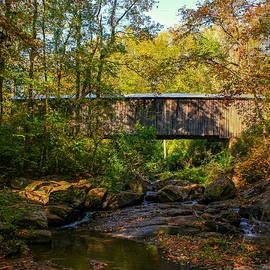 Reid Callaway - Downstream Autumn Elder Mill Covered Bridge Art