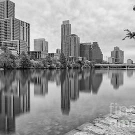 Silvio Ligutti - Downtown Austin in Black and White Across Lady Bird Lake - Colorado River Texas Hill Country