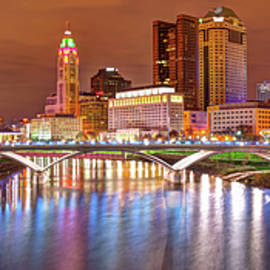 Gregory Ballos - Downtown Columbus Ohio Skyline Panorama at Night