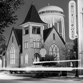 Gregory Ballos - Downtown Driving - Bentonville Arkansas Black and White