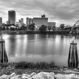 Gregory Ballos - Downtown Little Rock Arkansas Skyline on the Water - Black and White