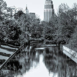 Gregory Ballos - Downtown San Antonio Skyline From the River in Black and White