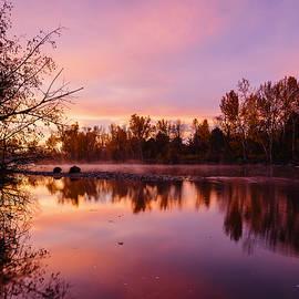 Vishwanath Bhat - Dramatic autumn sunrise along Boise River Boise Idaho