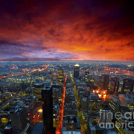Dramatic sky over city streets - Ehrman Photographic