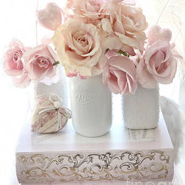 Dreamy Pastel Shabby Chic Peach and Pink White Roses - Cottage Shabby Chic Roses White Mason Jars  - Kathy Fornal