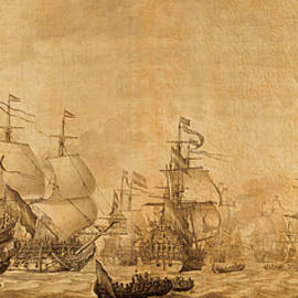 Dutch Battleships Willem Van De Velde 1672 on Parchment - Design Turnpike