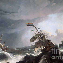 Ludolf Bakhuizen - Dutch warships in trouble off Gibraltar