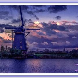 Gert J Rheeders - Dutch Windmill L A With Decorative Ornate Printed Frame.