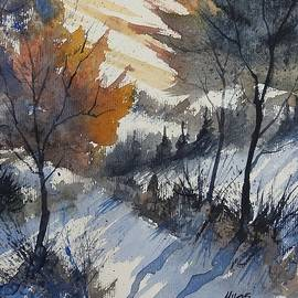 David K Myers - Early Snow, Loose Landscape Watercolor