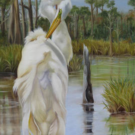 Phyllis Beiser - Egret At Bayou Coco Point