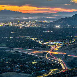 Elevated View of Salt Lake City after Sunset - James Udall