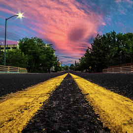 Brian Ball - Epic Pink Summer Clouds Over Double Yellow Line on Ralston St. Bridge in Reno, Nevada