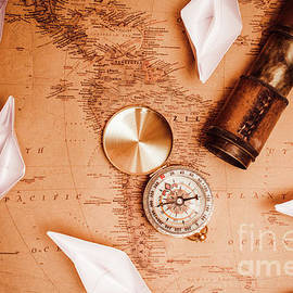 Explorer desk with compass, map and spyglass - Jorgo Photography - Wall Art Gallery
