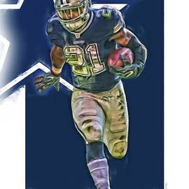 Ezekiel Elliott DALLAS COWBOYS OIL ART SERIES 1 - Joe Hamilton