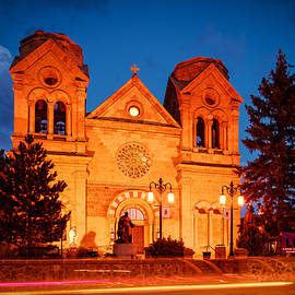 Silvio Ligutti - Facade of Cathedral Basilica of Saint Francis of Assisi at Twilight- Santa Fe New Mexico
